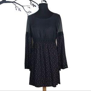 Free People Sheer Embroidered Boho Black Dress